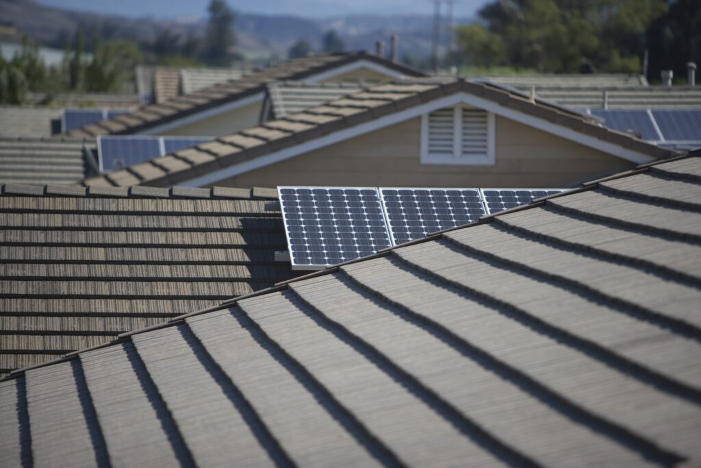 Solar water heater panels on rooftops